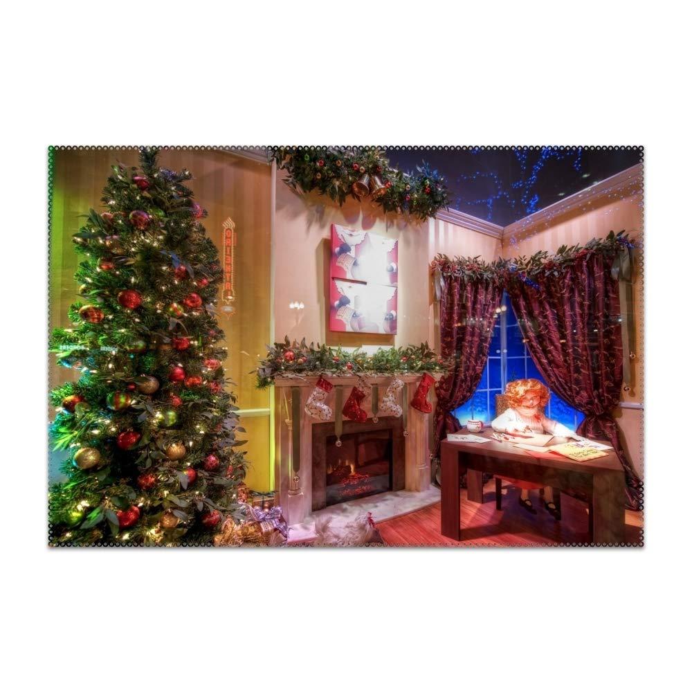 jiajufushi 洗える お手入れ簡単 木 暖炉 クリスマス プレースマット キッチン テーブル 耐熱 テーブルマット 12x18インチ 4 pcs 4237114_js_23 4 pcs Tree Fireplace Christmas1 B07KF1WVKG