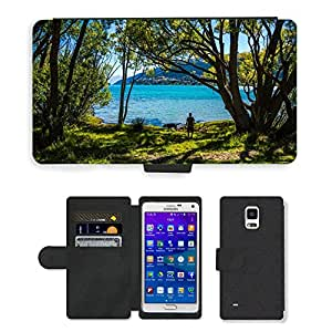 Hot Style Cell Phone Card Slot PU Leather Wallet Case // M00116550 Peace Park Lake Wapatiku Queenstown // Samsung Galaxy Note 4 IV