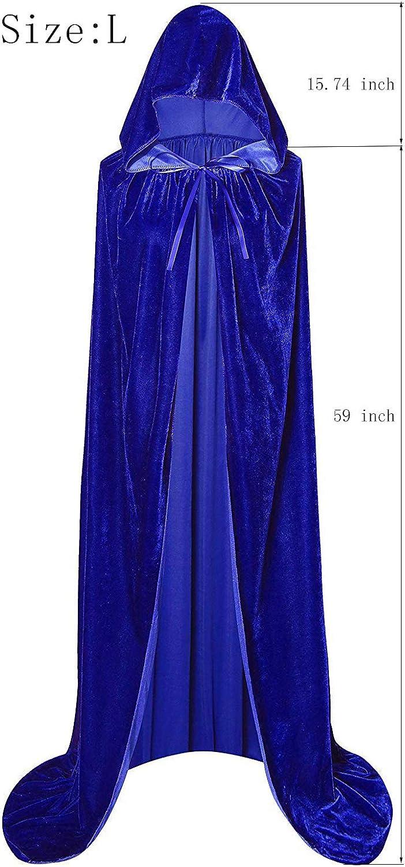 Unisex Full Length Hooded Robe Cloak Long Velvet Cape Cosplay Costume