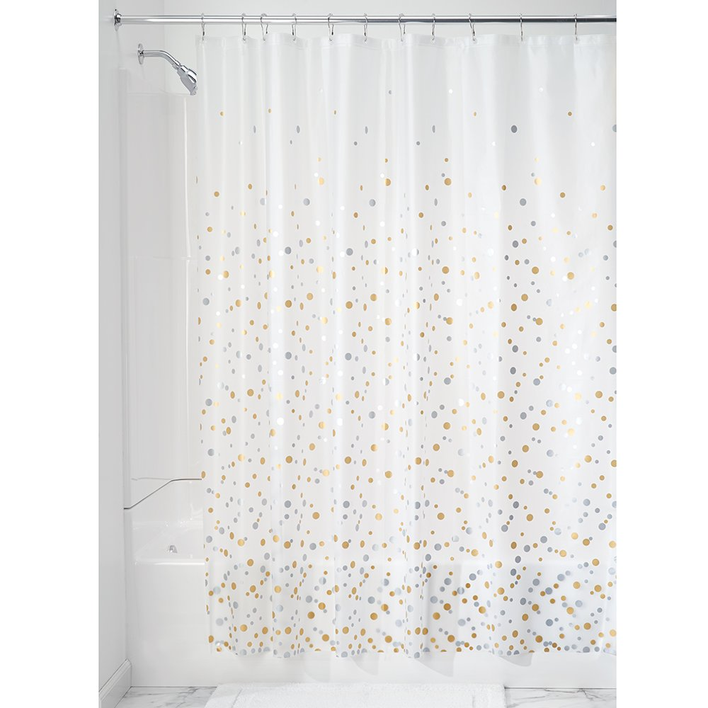 InterDesign Decorative PVC-Free PEVA 3-Gauge Shower Curtain Liner, 183 x 183 cm - Confetti, Silver/Gold 36780