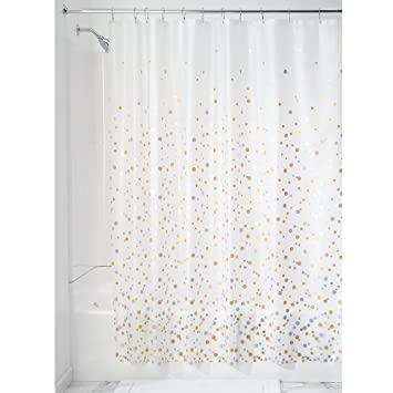 silver and gold shower curtain. Amazon Com  InterDesign Confetti Decorative PEVA 3G Shower Curtain Liner 72 X Silver Gold Home Kitchen