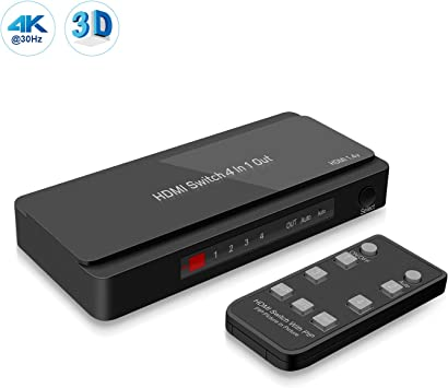 Fosmon 4-Port 4Kx2K HDMI Switch with PIP /& Remote Control Xbox HDTV Fire Stick Enhanced Stability PC Board PC /& More PS4 4K@30Hz 3D 1080p UHD 10.2Gbps ARC HDMI Switcher Splitter for Apple TV