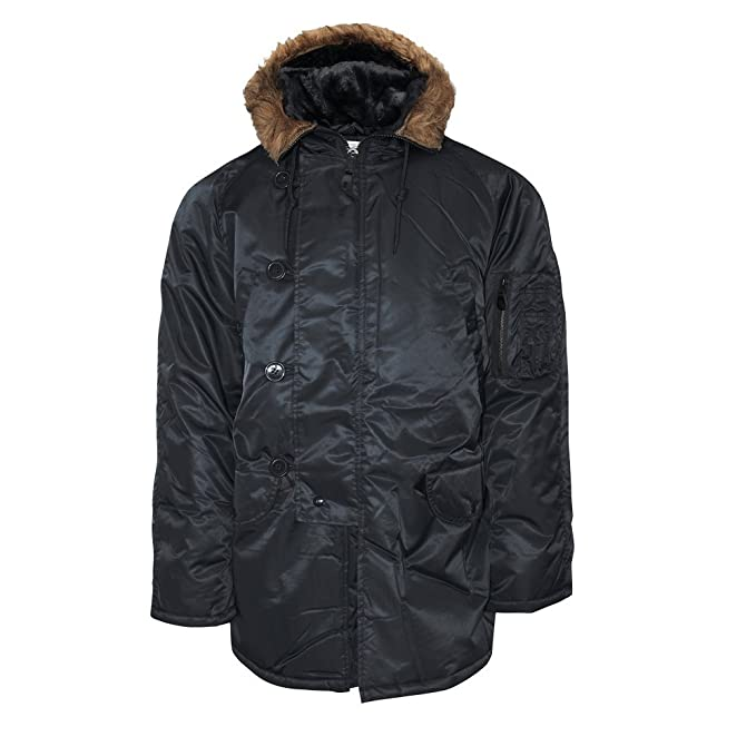 e829edce232 Mil-Tec N3B Flight Jacket Black  Amazon.co.uk  Clothing