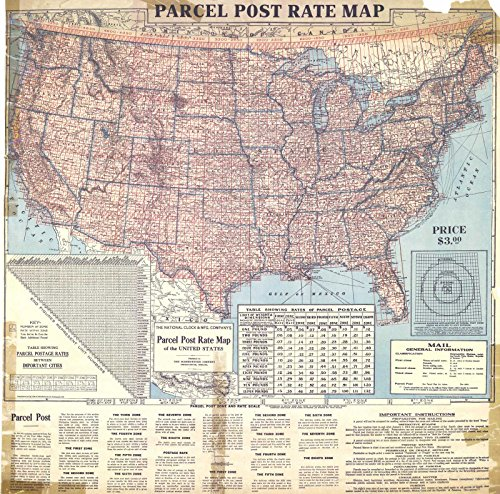 (Vintage Map | 1913 Parcel Post Rate Map | Historic Poster Art Reproduction | 36in x 36in)