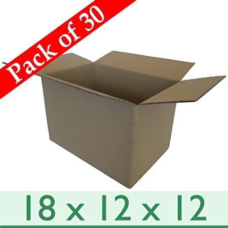 30 X Thick Removal Packaging Storage Cardboard Boxes   Double Wall   18 X  12 X