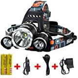 Brightest and Best 8000 Lumen Bright Headlamp Flashlight , IMPROVED LED with Rechargeable Batteries for Reading Outdoor Running Camping Fishing Walking - Waterproof Headlight