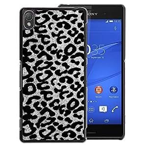 A-type Arte & diseño plástico duro Fundas Cover Cubre Hard Case Cover para Sony Xperia Z3 (Black White Gray Leopard Cheetah Pattern)