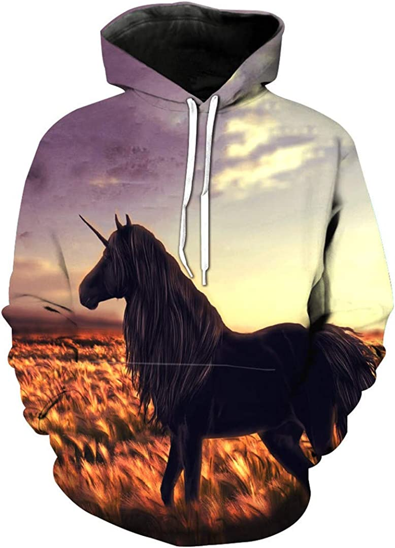 Unisex 3D Print Yellow Horse Animal Pattern Slim Slim Stylish Sweatshirt
