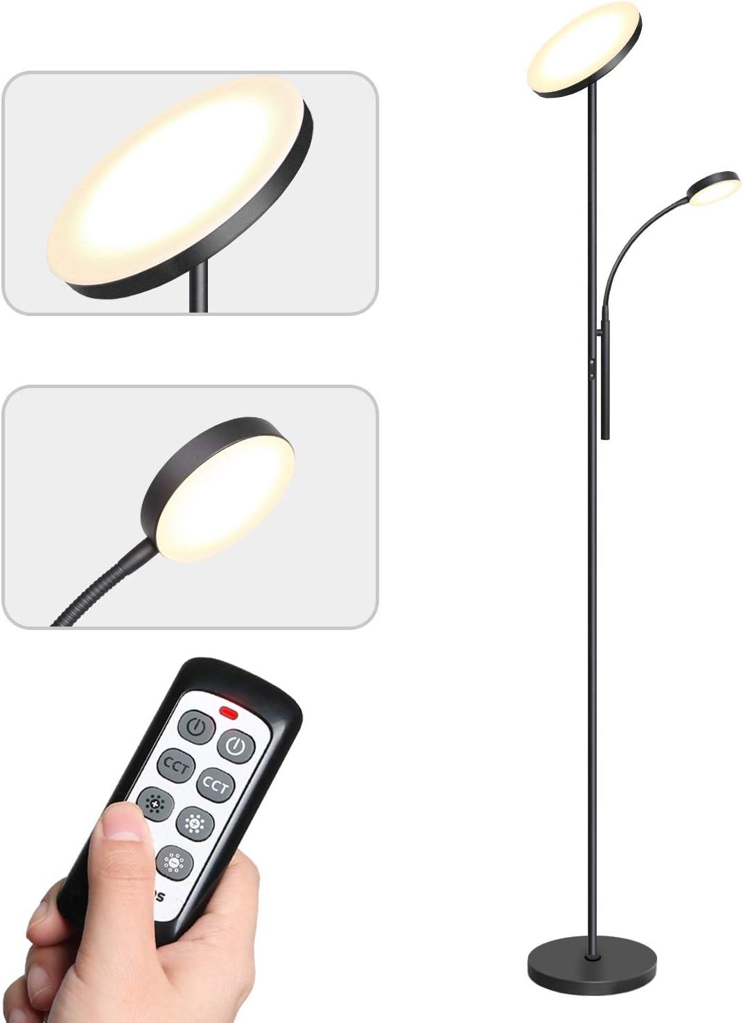 Tomons Lámpara de Pie Dimmer, LED Lámpara de Suelo con Doble Luz con Control Remoto, Atenuador Dimmer Continuo, 3 Temperaturas de Color