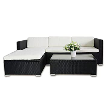 HENGMEI Gartengarnitur Polyrattan Gartenmöbel Set Lounge Sitzgarnitur  Gartensofa Rattanmöbel mit 2 Sessel + 1 Bank (Schwarz, Type E mit Anthrazit  ...