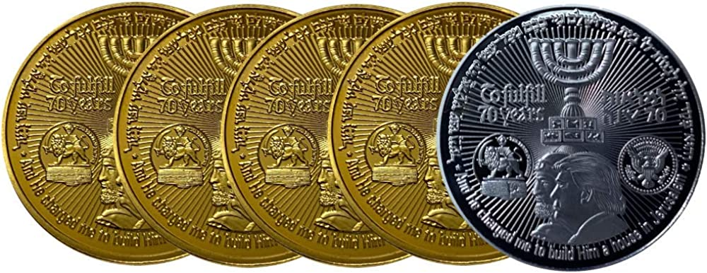 Simply Minimal 5 Pack Gold /& Silver Plated Donald Trump,70 Years to Israel Collectable Gold Plated Commemorative Coin Jewish Temple Jerusalem Israel King Cyrus