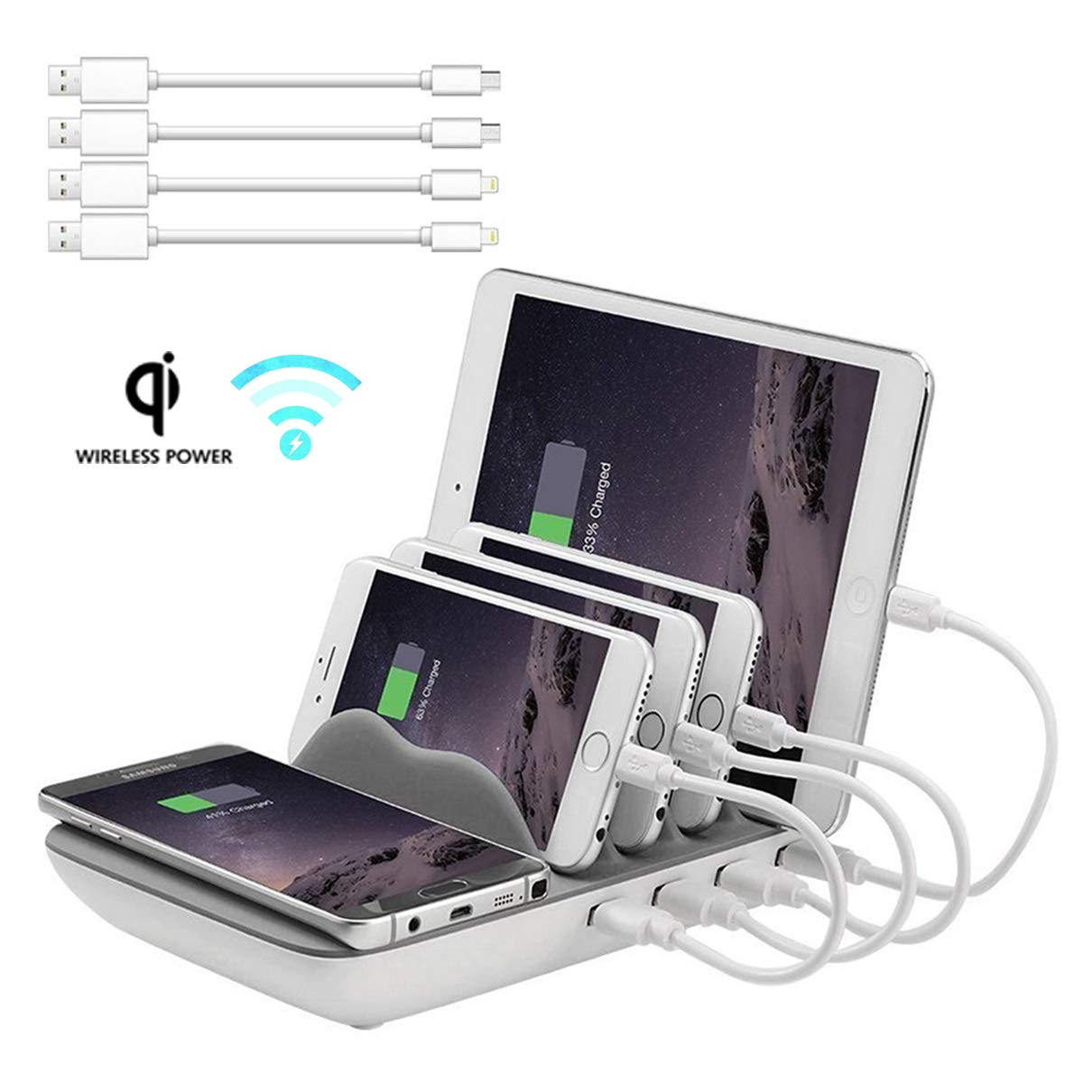 Faster Charging Station, Hometall 5-in-1 Multiple Phone Dock Stand with 4 USB Ports(Free 4 Cables) and 1 QI Wireless Charging Pad, Compatible for Samsung, iPhone, IPads,Other Electronics(Grey)