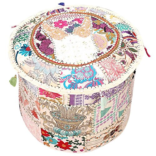 Stylo Culture Indian Pouffe Footstool Cover Round Patchwork Embroidered Pouf Ottoman Cover White Cotton Floral Traditional Furniture Footstool Seat Puff Cover (22x22x14)
