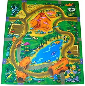 Dinosaur Felt Play Mat With Roads And Train Track Design
