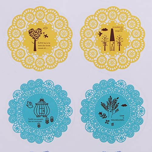 chiwanji 5枚の封筒の装飾のための円形のレースのステッカーの自己接着ラベル