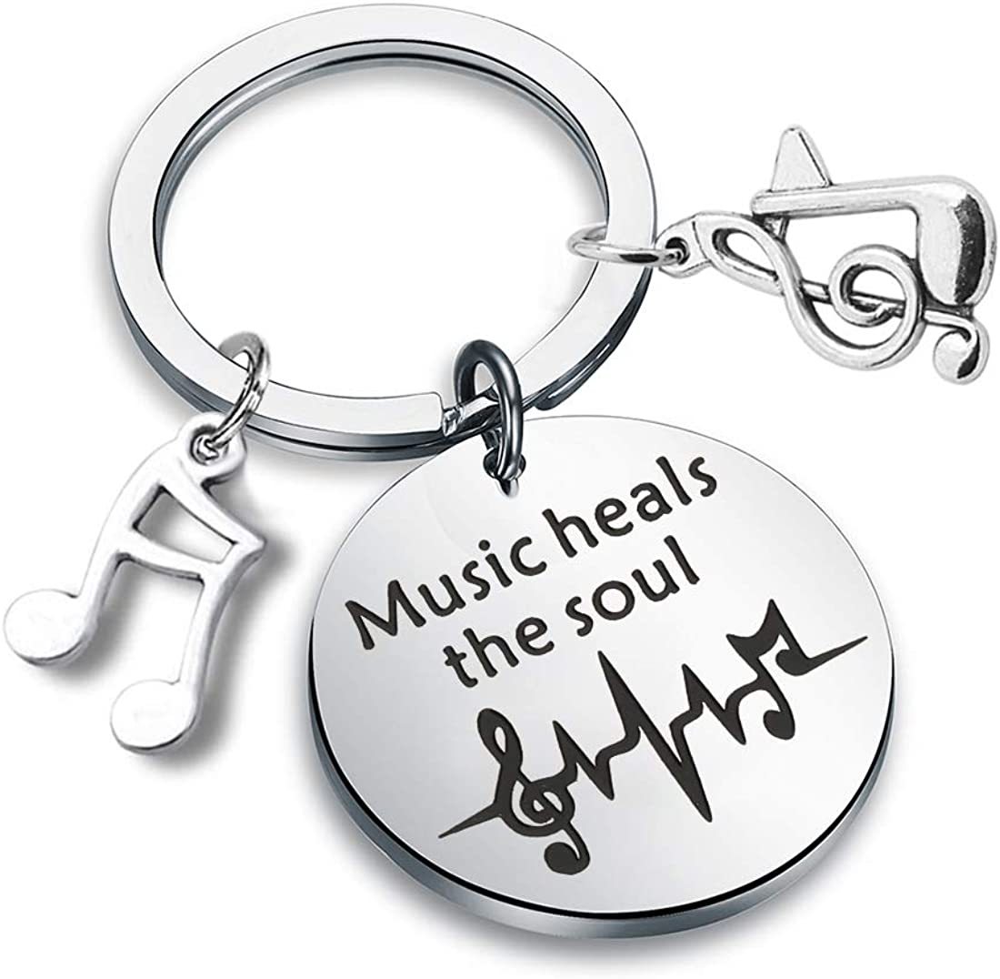 CENWA Music Lover Quote Gift Musician Theme Jewelry Music Heals The Soul Keychain Music Gift for Artists and Musicians Music Teachers
