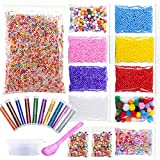 22 Pack Slime Beads for DIY Craft - Foam Beads, Glitter Shake Jars, Fishibowl Beads, Fruits/Candy Spices with Slime Storage Containers for Crunchy Slime, Nail Art and Home Decor