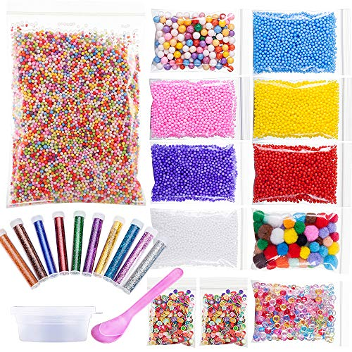 22 Pack Slime Beads for DIY Craft - Foam Beads, Glitter Shake Jars, Fishibowl Beads, Fruits/Candy Spices with Slime Storage Containers for Crunchy Slime, Nail Art and Home Decor by Funballs