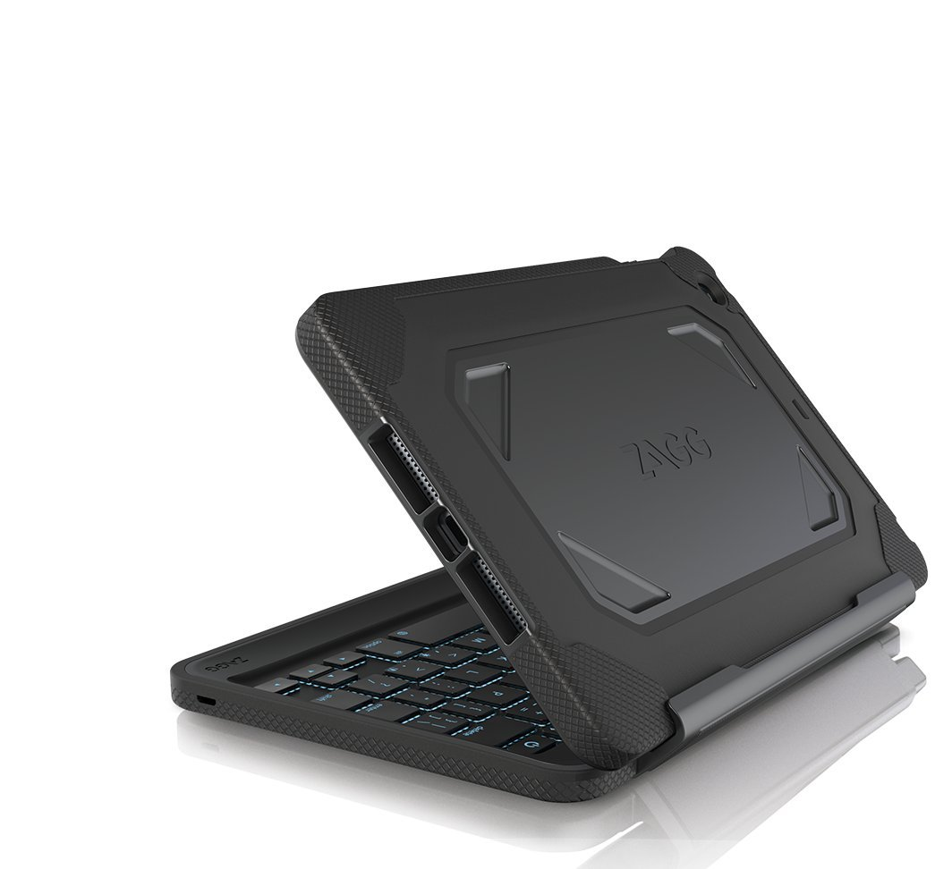 New Zagg Rugged Folio Case Hinged Backlit Keyboard Ipad