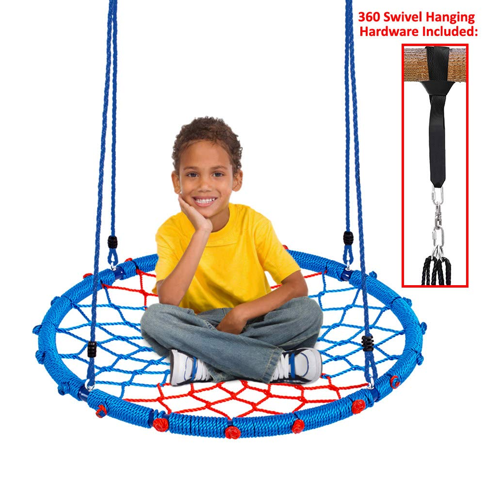 Clevr 38'' Round Outdoor Tree Net Swing, Kids Playard Toy Spider Web Tire Swing, with Detachable 360 Degree Spin Swivel Hanging Hardware & Adjustable 71'' Height Rope, 600 lb Limit - Blue & Red