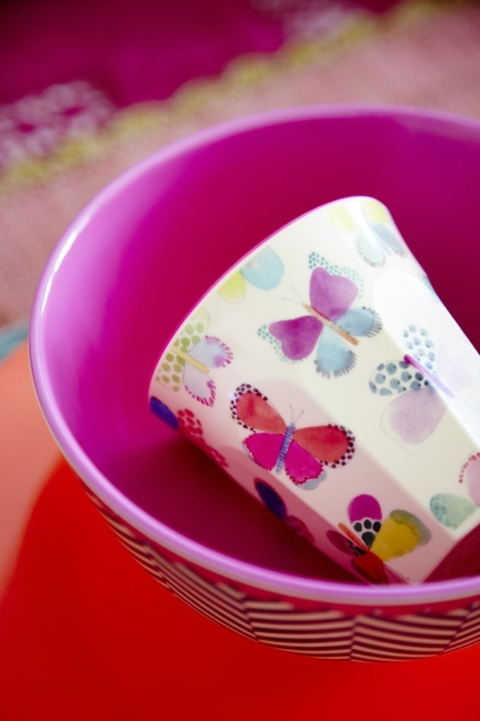 Melamine Medium Cup Two Tone with Butterfly Print by Rice DK