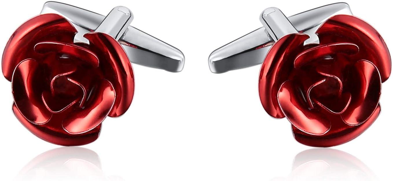 Aundiz Hombres Acero Inoxidable Gemelos Flor Diseño Camisa Gemelos Rojo Plateado: Amazon.es: Joyería
