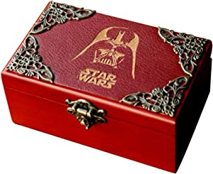 Star Wars 18 Note Wind up Wood Music Jewellery Box Antique Carved Halloween Christmas Birthday Collections Home Decorations, Plays Star Wars Theme