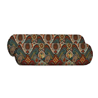 RSH Décor Set of 2 - Indoor/Outdoor Decorative Neckroll/Throw Pillows Made with Bohemian Retro Paisley Fabric: Home & Kitchen