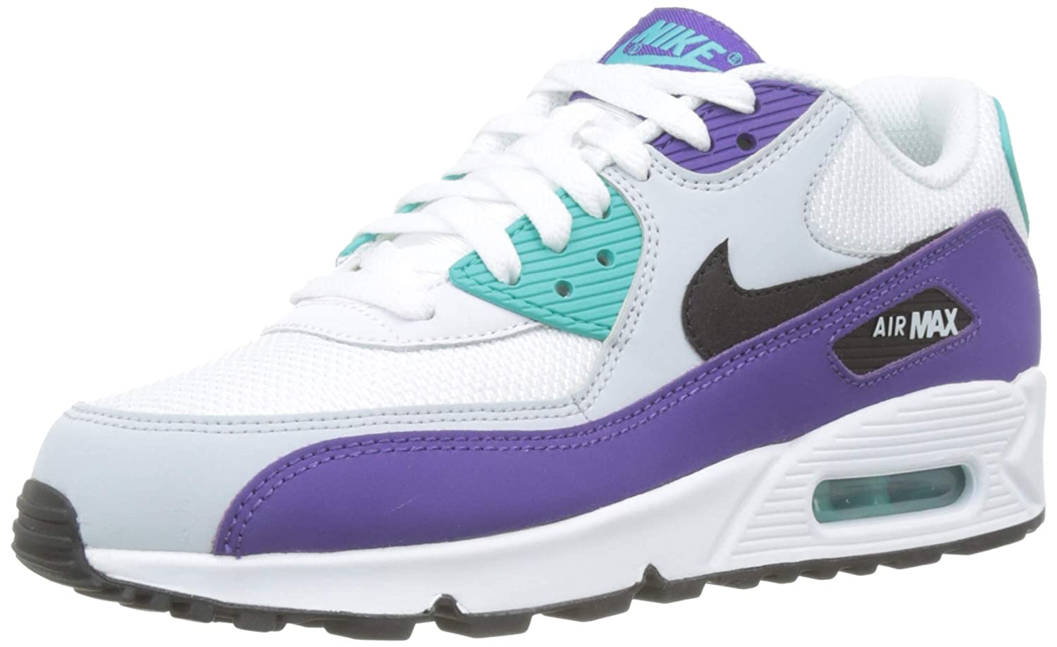 more photos 1bcbc 9a5c1 Nike Men's Air Max 90 White/Black/Hyper Jade/Court Purple Leather Casual  Shoes 7.5 M US