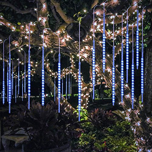 BlueFire Upgraded 50cm 10 Tubes 540 LED Meteor Shower Rain Lights, Falling Rain Drop Christmas Light, Waterproof Cascading Lights for Holiday Party Wedding Christmas Tree Decoration (Blue) -