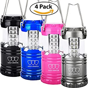 LED Lantern - Camping Lantern Equipment Lights for Emergencies, Camping, 4-Pack (Multicolor (Black, Blue, Pink, Gray))
