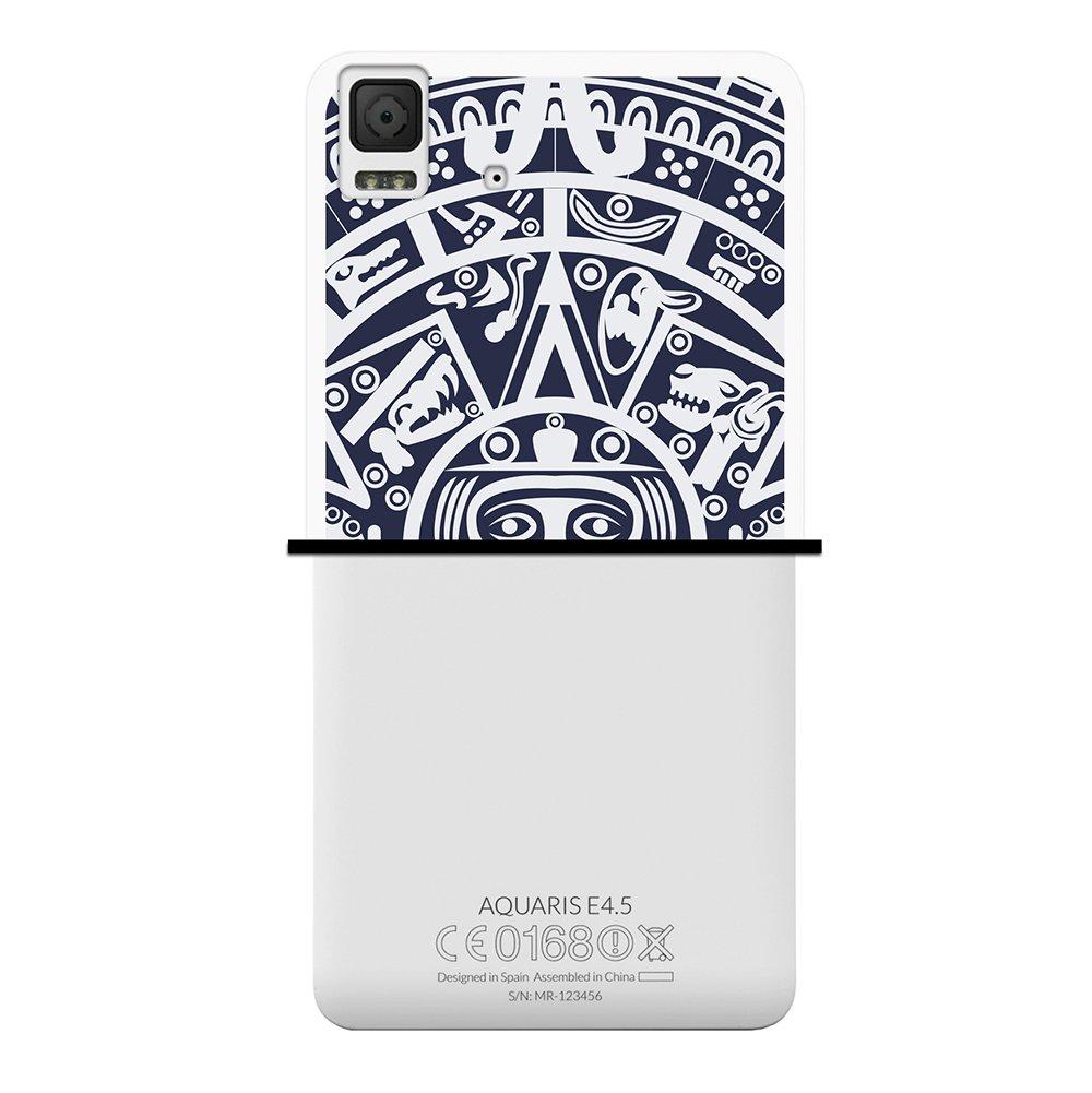 WoowCase Funda Bq Aquaris E4.5, [Bq Aquaris E4.5 ] Funda Silicona Gel Flexible Calendario Azteca, Carcasa Case TPU Silicona - Transparente