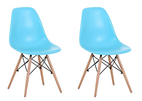 Marvelous Creation Yusheng Eames Style Dining Chair With Natural Eiffel Base Wooden Leg Modern Plastic Dining Side Chair Blue Set Of 2 Gmtry Best Dining Table And Chair Ideas Images Gmtryco