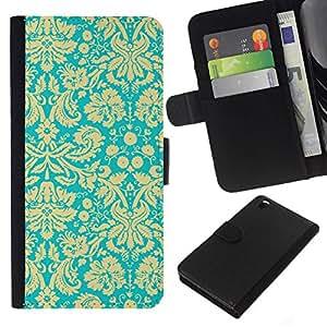 All Phone Most Case / Oferta Especial Cáscara Funda de cuero Monedero Cubierta de proteccion Caso / Wallet Case for HTC DESIRE 816 // Yellow Vintage Retro Wallpaper Pattern