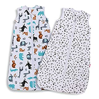 Lictin Baby Sleeping Bag 0.5 Tog- 2 Pcs Baby Wearable Blanket Sleeping Sack Summer Baby Swaddle Sack with Adjustable Length (70-90cm)