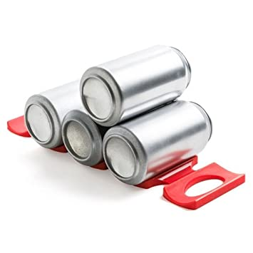 Rojo Silicona Soporte para almacenamiento de latas – juego de 2 perfecto armario de cocina y