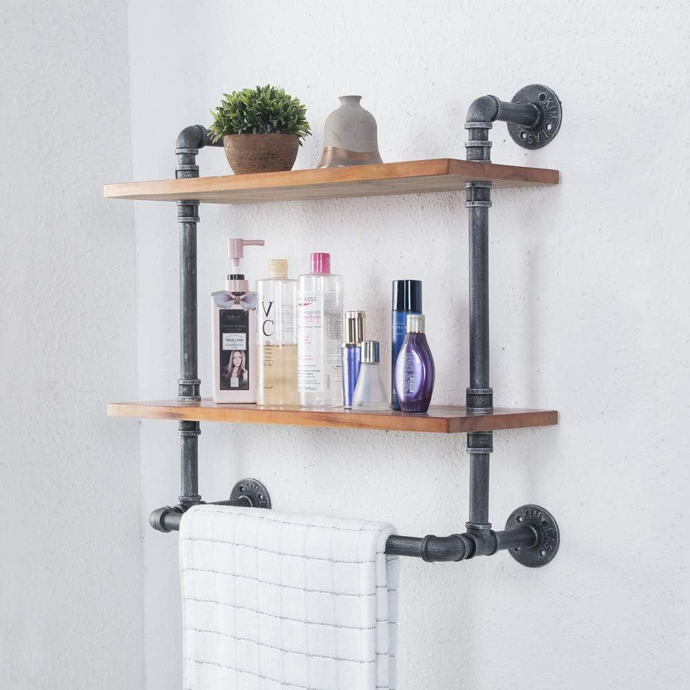 "Tianman(24"" Wide,10"" deep,2 Tier) Industrial Retro Reclaimed Wall Mounted Wooden Pipe Bathroom Towel Rack,Towel Holder,Bathroom Decor Shelves,Towel Storage"
