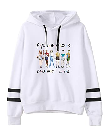 Pull Stranger Things Ado Fille, Sweat Stranger Things Femme Friends Dont  Lie Unisexe Sweat Rayures Sweat,Shirt a Capuche Sport Base,Ball Sweat Shirt
