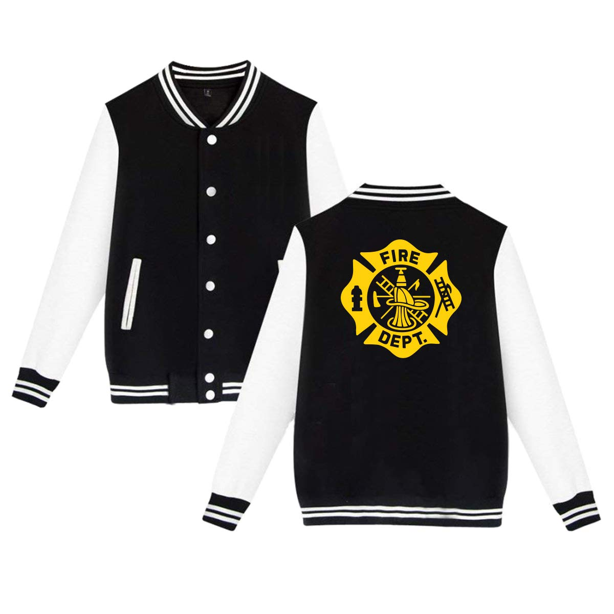 MF SFLK Firefighter Black and Gold Unisex Baseball Jacket Uniform Sweater Coat Sweatshirt