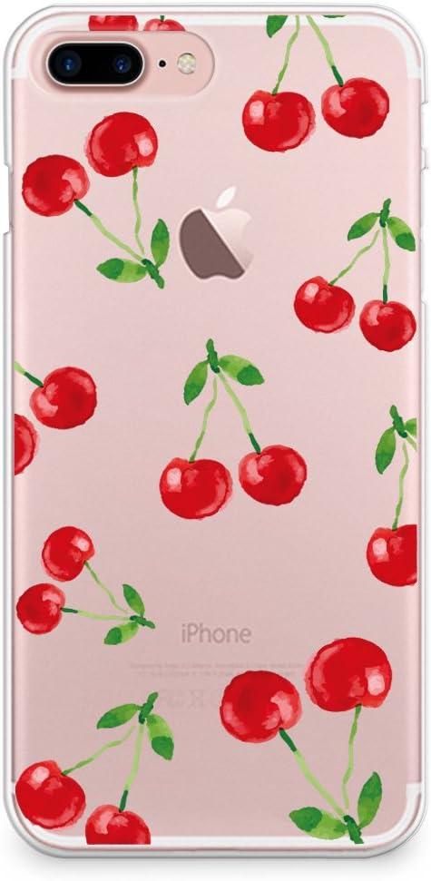 CasesByLorraine iPhone 8 Plus Case, iPhone 7 Plus Case, Cherry Pattern Clear Transparent Case Slim Hard Plastic Back Cover for Apple iPhone 7 Plus & iPhone 8 Plus (P88)