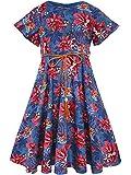 Bonny Billy Girl's Flitter Sleeve Holiday Dress Braided Belt 3-4 Jean Blue