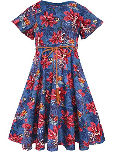 Bonny Billy Girl's Flitter Sleeve Holiday Dress with Braided Belt 8-9 Jean Blue]()
