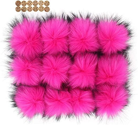 12pcs Handmade Hairy Ball Fits for Knitted Hats Scarves Shawls Key Chain Accessories 5.5 inches Yellow Fluffy Faux Raccoon Fur Pompoms