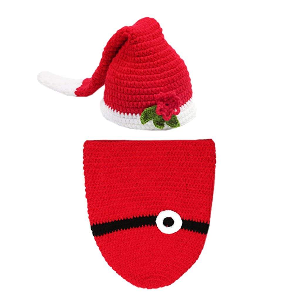 DELEY Unisex di Natale del Bambino sacco a Pelo Costume all'Uncinetto per Neonato Vestiti del Vestito Foto Puntelli 0-6 Mesi FS0257