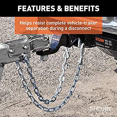 CURT 80312 27-Inch Trailer Safety Chain with 3/8-Inch Snap Hook, 2,000 lbs. Break Strength: Automotive