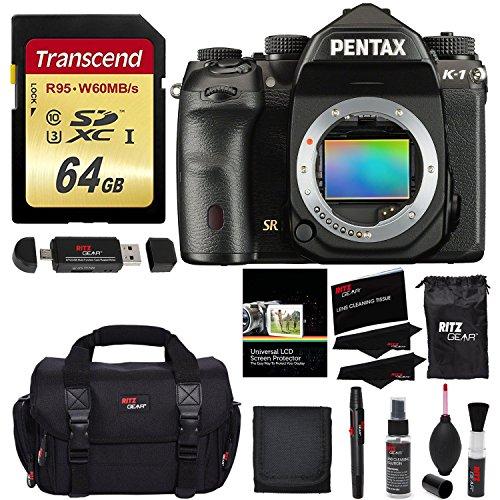 Pentax K-1 Full Frame DSLR Camera Body Only, Transcend 64 GB UHS-3 Flash Memory Card, Ritz Gear SLR Gadget Bag, Ritz Gear Cleaning Kit, Ritz Gear Reader, Polaroid Screen Protector & Memory Card (Pentax Focus Screen)