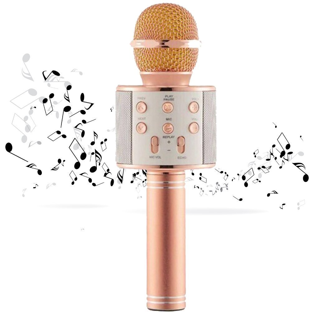 Ambay Computers Karaoke Portable Handheld Wireless Microphone, Condenser Mic With Bluetooth Speaker Compatible With All Smart Devices product image