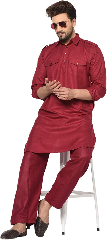 Pijama de algod/ón para hombre estilo tradicional talla grande estilo indio Pathani Kurta