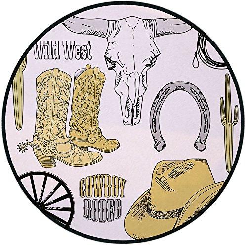 - Printing Round Rug,Western,Cowboy Rodeo Accessories Skull Lasso Hat Vintage Wheel Horseshoe Mat Non-Slip Soft Entrance Mat Door Floor Rug Area Rug For Chair Living Room,Light Brown Black Light Grey