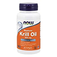 NOW Supplements, Neptune Krill Oil 500 mg, Phospholipid-Bound Omega-3, Cardiovascular...
